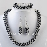 Mixed Order! Fashion Beautiful Faceted Glass Beads Jewelry Necklace Bracelet Earrings Set Wholesale, Free Shipping