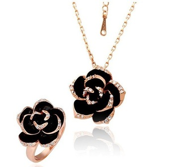 18KS001 18K Gold Plated Wedding Sets Health Jewelry Nickel Free K Golden Plating  Rose Austrian Crystal  Element