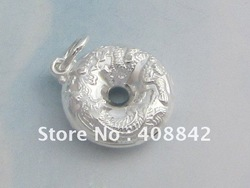 Free shipping 925 Sterling Silver Chinese Round Dragon Phoenix Lock Charm Pendant PB7 DIY Jewelry Fit Necklace Wholesale Retail(China (Mainland))
