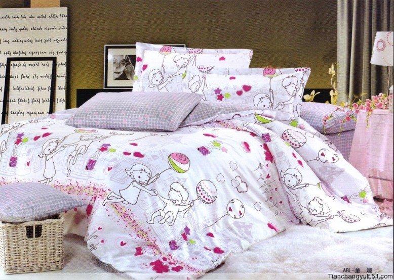 Heureux modèle de dessin animé 4 pcs couvre lit textile à la maison