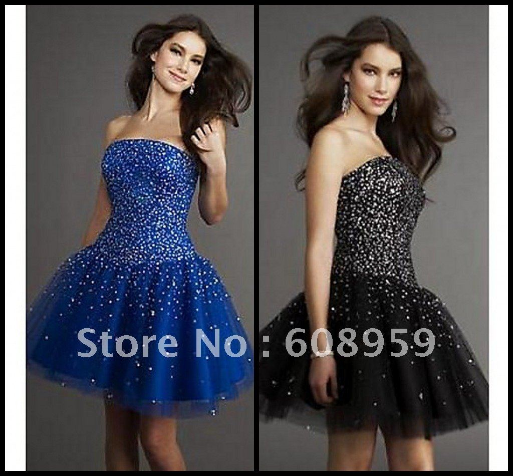 2012 Free Shipping Ball Gown Strapless Sequins Tulle Short Dress Cocktail Gowns Homecoming Dresses(China (Mainland))