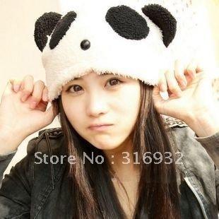 J4 Plush panda design winter hat lady's snow cap