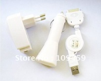 100set AC wall adapter + mini Car Charger + sync usb cable 3 in 1 charger kit for ipod iphone4 3GS 3G US AU EU UK available