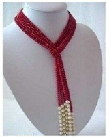 white freshwater pearl red coral necklace Fashion Free shipping