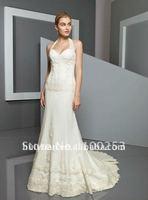 Slim Line Appliques Chapel Train Flower Wedding Gown
