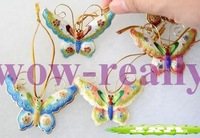 Free shipping! New 6 PCS CHRISTMAS ORNAMENT CLOISONNE BUTTERFLY Gift