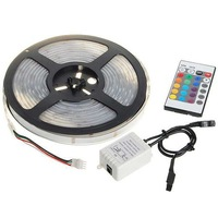 5m LED Strip RGB SMD Waterproof+24Key IR remote controller +LED controller Promotion 10% off