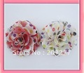 Wholesale -  3'' polka dots Satin mesh silk flowers for hoilday without hair clip  FreeShipping