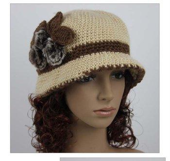 Women Fuax Fur Decor Flower Style Braided Knit Double Layer Warm Bucket Hat Cap