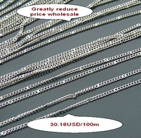 H1355 free shipping 100m/lot cut price fashion jewelry chains copper silver chains jewelry accessories components findings