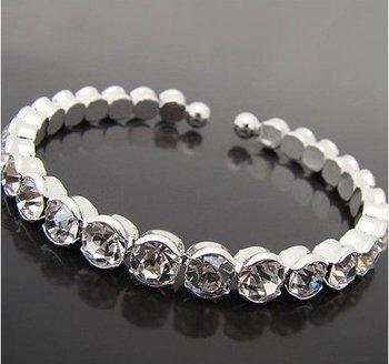 12 pcs/lot Big Crystal Rhinestone Silver Bridal Bracelet, Bridal Bangle Jewelry