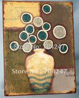 Abstract flower nostalgic metal sign/iron sign/tin sign for /home,shop,bar,garden,outdoor decor/antique plaque/house wall art