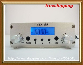 Free shipping 15W Adjustable 87.5-108MHz stereo Fm transmitter broadcast station with Temp control Black/Silver