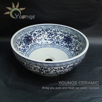 Artistic hand maded hand painted blue and white ceramic porcelain wash basin