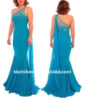 Free shipping One-shoulder chiffon mermaid beaded mother of the bride dresses
