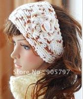 new bright Handmade Headbands crochet Flower soft acrylic three tone color