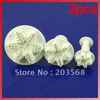 3pcs Snowflake Plunger Cutter Mold Sugarcraft Fondant Cake Decorating DIY Tool