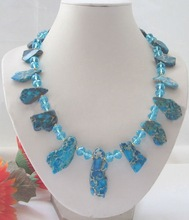 """Beautiful 21"""" blue turquoise and crystal necklace(China (Mainland))"""