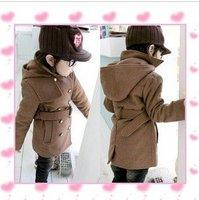Korean children's wear thick woolen coat handsome British children's coats long sections belt