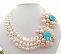 Excellent! 3Strds Baroque Pearl Flower Necklace