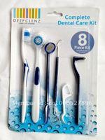 [MOQ=2 pcs] 8 pcs home dental care kit dental stain eraser mirror tongue toothbrush toothpick floss
