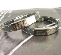 10pcs/lot Free shipping ,Classic Personality, Cross Heart-shaped Silica Gel Bracelet, The Man Titanium Steel Bracelet (A2261)