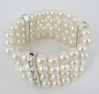 Wholesale - - jewelry Wedding bracelet four rows elastic CRYSTAL MILK WHITE pearl bracelet 5PCS