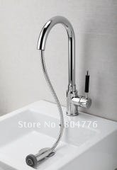 Brass Pull-out  Kitchen Faucet with Spring  Lavatory  Tap Single Hole Single Handle