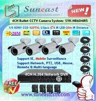 "HOT !!! Free shipping 1/3"" sony 420tvl vandalproof dome camera kit SYK-N8604IR5 4CH H.264 dvr kit"