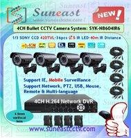 Free shipping 40m night vision cctv camera kit SYK-N8604IR6-1 4CH H.264 dvr kit with 4-9mm manual zoom lens bullet cameras