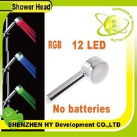 color changing LED Shower Head with 12 LED, Green, blue, red 3 color, freeshipping dropshipping