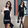 Black Sexy Women's Ladies Casual Mini Slim Cotton Lace Dress Clubwear long Sleeve 3360