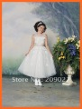 2012 Hot Free Shipping Designer Pretty Scoop Appliques A-Line Organza Flower Girl Dresses