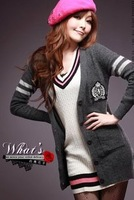 free shipping new for autumn and winter casual ladies cardigan sweater Gray XL6007