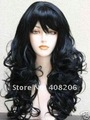 beautiful women's long black curly human made hair women's wig wigs free shipping