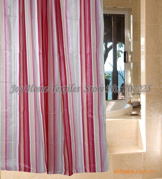 Free Shipping High Quality Polyester Eva Shower Curtain Bathroom Curtain Red Stripe 180x180cm