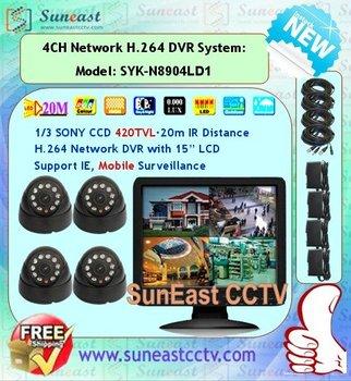 20m IR night vision distance 4CH Security LCD DVR kit SYK-N8904LD1 free shipping