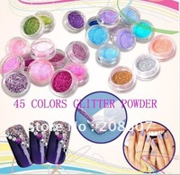 Nail Glitter Freeshipping 45jars/set Nail Art Shiny Glitter Powder Glitter Chips Nail Glitter Nail Accessories Nail Decoration