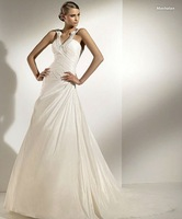 Free shipping  beautiful deep v-neck with beading taffeta wedding dress/backless sexy bridal dress