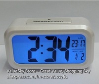 110610A-Hot Sale Energy Saving Large LCD Screen Smart Alarm Clock Light Sensor Noiseless Nigh Light Free Shipping