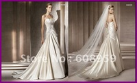 2012 Hot! Simple A-line Strapless Applique Beads Satin Court Train Formal Wedding Dresses Bridal Gowns BANGOR Designer