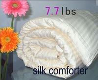 Satin cotton Brand new silk weight 3.5kg/7.7lbs white striped pattern Twin/Full/Queen/King/Super king size silk filled comforter