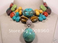 design Unique Tibet silver Turquoise Coral Necklace fashion jewelry