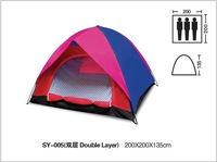 Free shipping 180T ployester PU coating waterproof 2000mm  3 person double layer and door camping tent