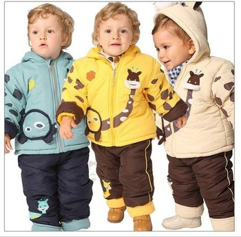 11 winter of baby clothes newborn children's wear thick children quilted jacket + can open fork wadded pants suit warm clothes