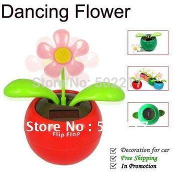 Creative Solar Power Dancing Flower Flip flap Swing Flower for Car Free Shipping