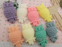 Free shipping zakka  High quality  resin accessories DIY  jewelry materials Owl  8Color resin cameo