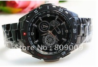 Free shipping Quartz pointer table three eye six stitches black series business gifts with steel watch factory direct sale144596