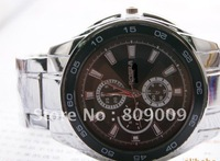 Free shipping Quartz pointer table supply three eye six stitches and fashionable man with personality steel watch 138602
