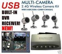 New USB WIRELESS 4 CCTV Camera DVR Security Surveillanc System Kit Night Vision Camera Free Shipping Via EMS Or DHL